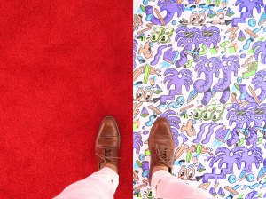 Looking down at shoes and legs from above, left foot is on plain red carpet, right foot is on brightly patterned carpet