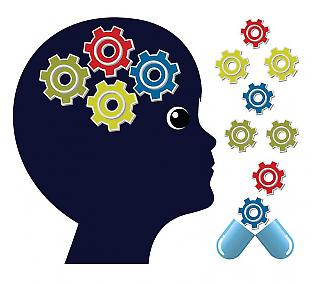 Graphical representation of a head containing cogs alongside a broken capsule releasing more cogs