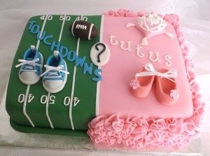 Square cake with green American football decoration on one half and pink ballet theme on the other